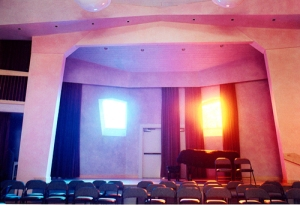 auditorium with stained glass windows